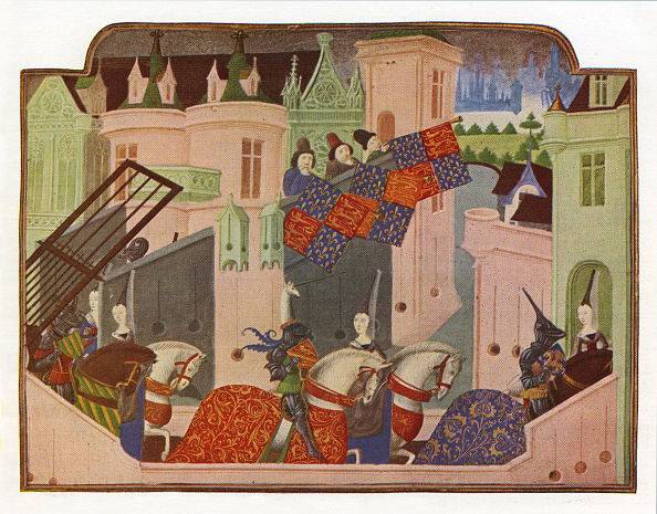 Circa 14th Century「Knights and ladies riding to a tournament in London」:写真・画像(5)[壁紙.com]