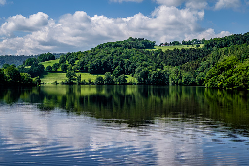 """Reservoir「Obersee (upper Rursee), a reservoir lake between the towns of Einruhr and Rurberg, Districts of Simmerath located in the """"cities region"""" Aachen, Germany」:スマホ壁紙(9)"""