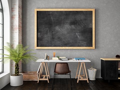 Frame - Border「Work Space with Blackboard」:スマホ壁紙(12)