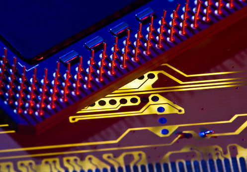 Mother Board「Inside of a circuit board with gold filaments」:スマホ壁紙(16)