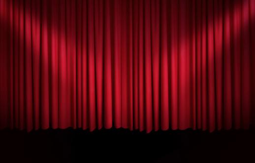 カーテン「赤のカーテンにスポットライト」:スマホ壁紙(15)
