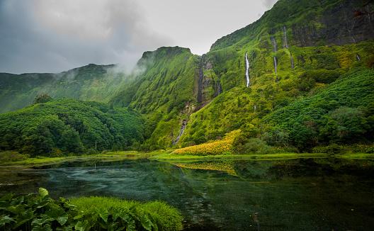 島「フローレス島アゾレスのポルトガルの滝」:スマホ壁紙(6)