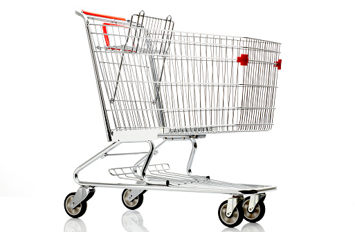 Shopping Cart「Shopping cart with red details on a white background」:スマホ壁紙(8)