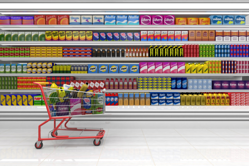 Supermarket「Shopping cart in the supermarket.」:スマホ壁紙(6)