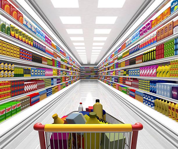 Shopping cart in the supermarket.:スマホ壁紙(壁紙.com)