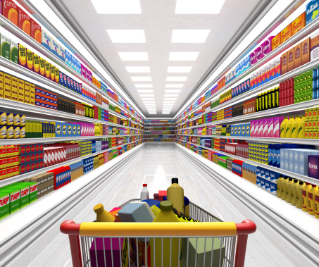 Digitally Generated Image「Shopping cart in the supermarket.」:スマホ壁紙(6)