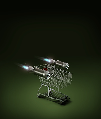 Online Shopping「Shopping cart with jet engines」:スマホ壁紙(12)