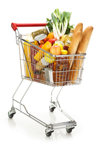 Shopping Cart「Shopping cart filled with variety of groceries on white backdrop」:スマホ壁紙(14)