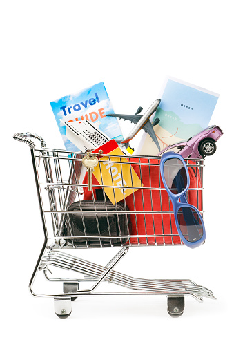Figurine「Shopping Cart with Vacation Travel Package, Cruise, Flight, Car Rental」:スマホ壁紙(10)