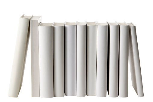 Hardcover Book「Row of white blank books spine on white background」:スマホ壁紙(7)