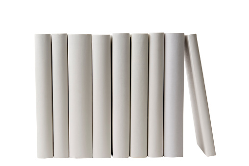 In A Row「Row of white blank books spine on white background」:スマホ壁紙(5)