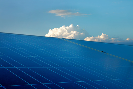 Pennsylvania「rooftop photovoltaic panels at dusk」:スマホ壁紙(0)