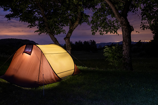 Camping「Glowing tent up in the Forest under a beautiful colorful night sky」:スマホ壁紙(15)