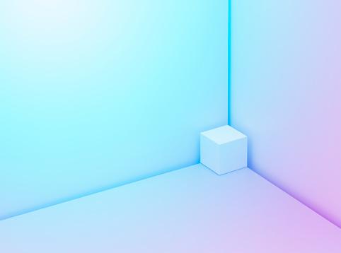 Blue Background「Cube in a corner」:スマホ壁紙(0)