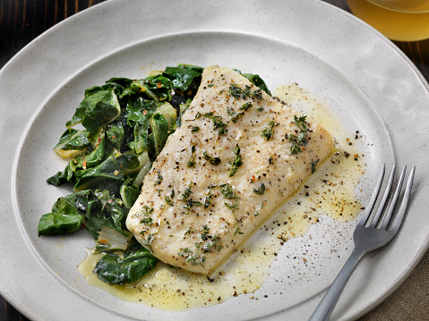 Pollock - Fish「Butter Poached Halibut with Swiss Chard」:スマホ壁紙(3)