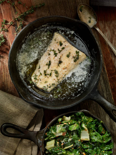 Butter Poached Halibut with Swiss Chard:スマホ壁紙(壁紙.com)