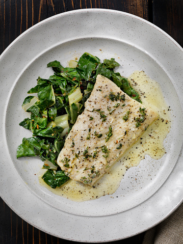 Pollock - Fish「Butter Poached Halibut with Swiss Chard」:スマホ壁紙(5)