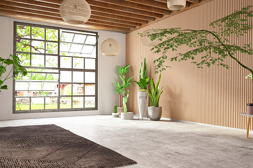 House「Unfurnished Cozy Bedroom with Wooden Wall and Window」:スマホ壁紙(11)