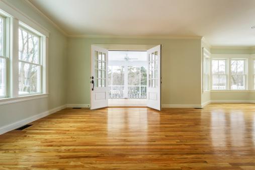 Ceiling Fan「Unfurnished family room with hardwood floors」:スマホ壁紙(3)