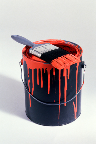 Bucket「Can of red paint with brush」:スマホ壁紙(0)