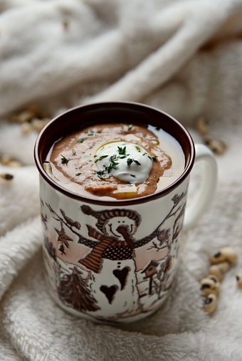 雪だるま「Bean soup in mug」:スマホ壁紙(10)