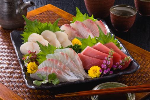 Sake「Four Assorted Sashimi, Lean Tuna, Sea Bream, Scallop and Greater Amberjack」:スマホ壁紙(9)