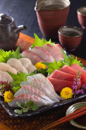 Sake「Four Assorted Sashimi, Lean Tuna, Sea Bream, Scallop and Greater Amberjack」:スマホ壁紙(12)