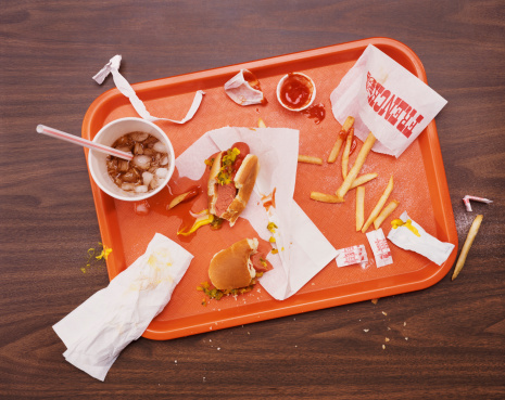 Fast Food「Messy Tray With Eaten Hot Dog, Fries and Cola」:スマホ壁紙(10)