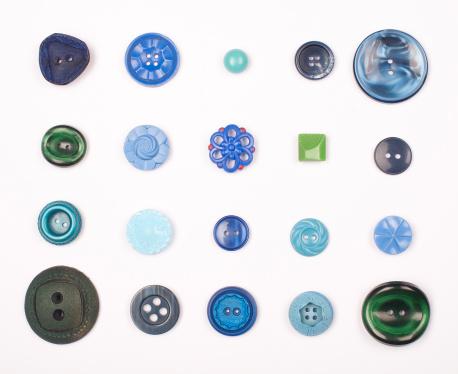 Button - Sewing Item「Blue Vintage Buttons」:スマホ壁紙(2)