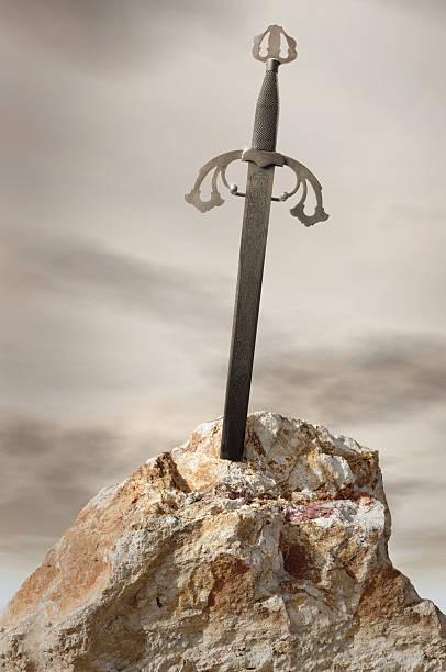Antique sword stuck in stone rock:スマホ壁紙(壁紙.com)