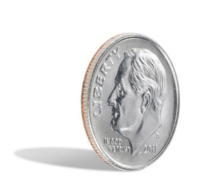 米国硬貨「米国ダイムに白背景」:スマホ壁紙(18)