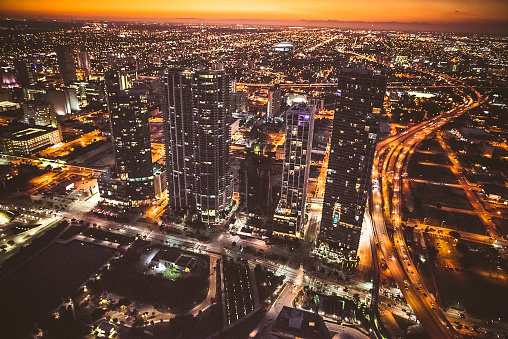 Miami Beach「Miami downtown aerial view in the night」:スマホ壁紙(5)