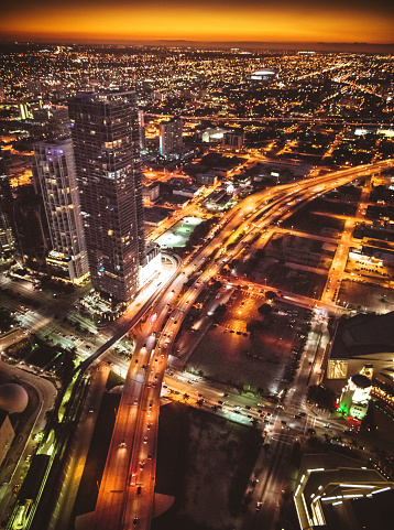 Miami Beach「Miami downtown aerial view in the night」:スマホ壁紙(10)