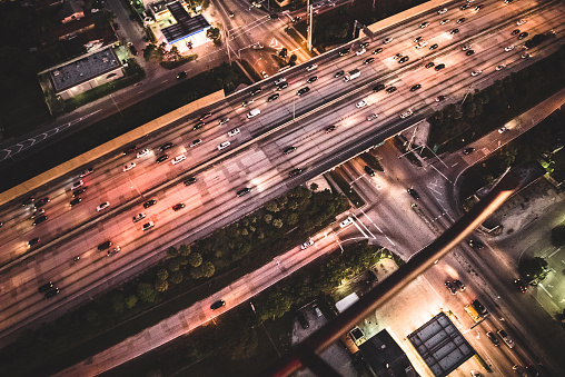 Railroad Junction「Miami downtown aerial view of the highway in the night」:スマホ壁紙(16)