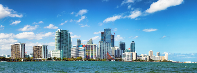 Miami「Miami downtown Brickell skyline sunny day extended panorama」:スマホ壁紙(7)