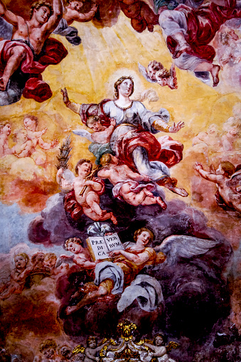 Fresco「San Rocco church, Acireale, Sicily (Italy). Chapel ceiling fresco. Mary's assumption.」:スマホ壁紙(18)