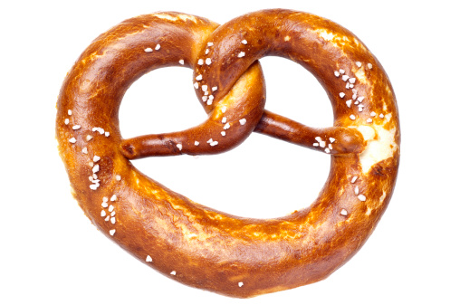 Bun - Bread「German bread pretzel on a white background」:スマホ壁紙(5)