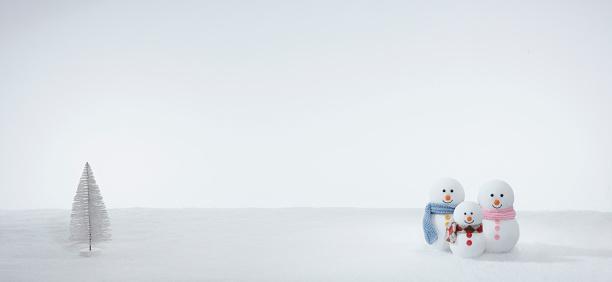 雪だるま「Snowman Family」:スマホ壁紙(6)