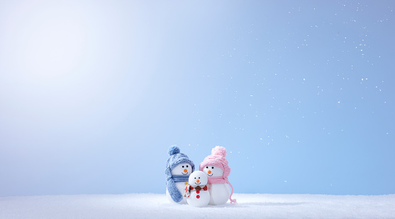 雪だるま「Snowman Family」:スマホ壁紙(5)