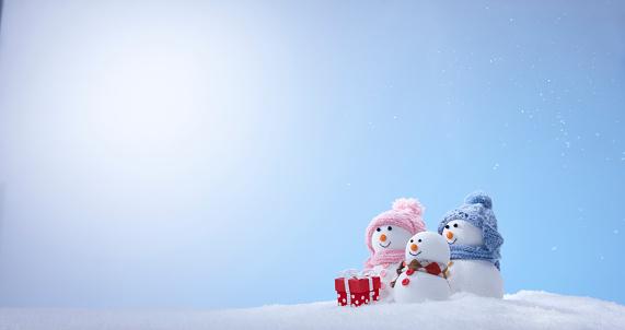 雪だるま「Snowman Family」:スマホ壁紙(11)