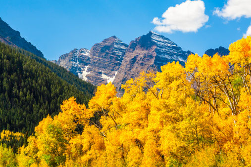Aspen Tree「Maroon Bells mountain peaks & aspen trees in autumn color」:スマホ壁紙(10)