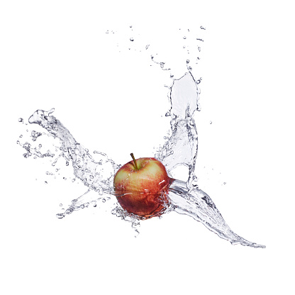動き「Red apple and splash of water」:スマホ壁紙(17)