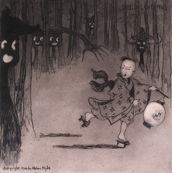 Horror「Goblin Lanterns, black and white print showing a child holding a lantern and running from ghostly faces on trees」:写真・画像(10)[壁紙.com]