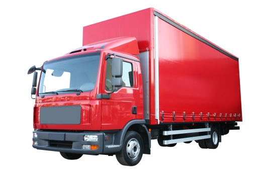 Freight Transportation「A big red delivery truck on a white background」:スマホ壁紙(17)