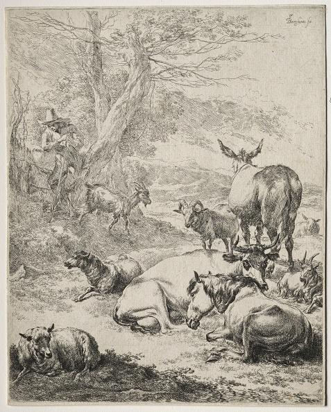 Etching「The Herd At Rest. Creator: Nicolaes Berchem (Dutch」:写真・画像(4)[壁紙.com]