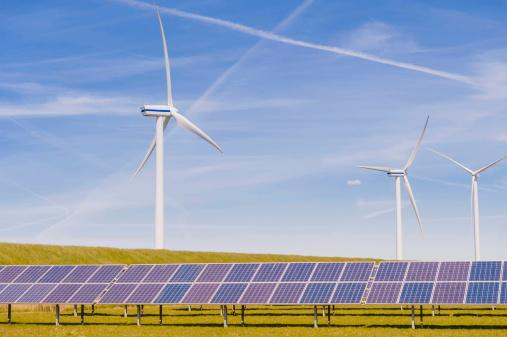 Wind Turbine「Germany, Schleswig-Holstein, View of solar panel and wind turbine in field」:スマホ壁紙(14)