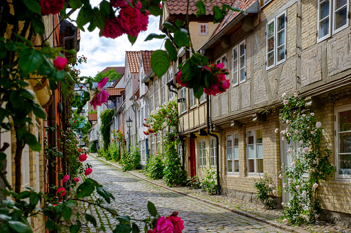 Alley「Germany, Schleswig-Holstein, Flensburg, Oluf-Samson-Gang - alley with fishermen†houses」:スマホ壁紙(9)
