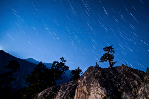 Inyo National Forest「Whisps of moonlight shine through the mountain peaks to illuminate this lone pine on the hilltop in Inyo National Forest, California.」:スマホ壁紙(12)