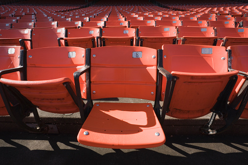 Part of a Series「Empty stadium seats, one seat down」:スマホ壁紙(12)
