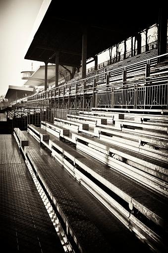 Motor Racing Track「Empty Stadium Bleachers, Sepia Tone」:スマホ壁紙(3)